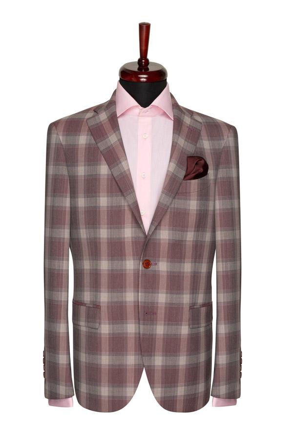 Gentlemen`s Corner Garnet Check Slim Fit Jacket