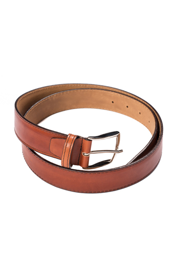 Gentlemen`s Corner Hand Painted Leather Belt - Cognac