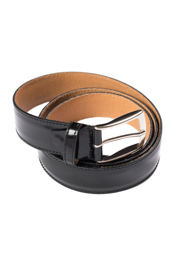 Gentlemen`s Corner Hi-shine Black Leather Belt