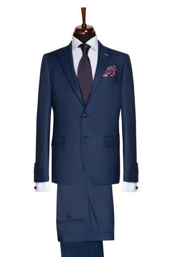 Gentlemen`s Corner Blue Checks Slim Fit Business Suit