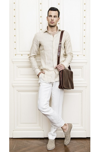 Gentlemen`s Corner White Linen Slim Fit Trousers - Made to Measure
