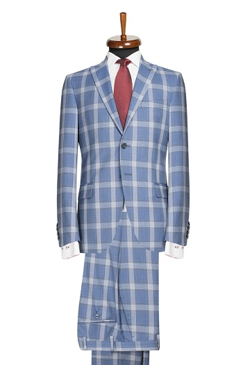 Gentlemen`s Corner Slim Fit Blue Check Suit - Clark