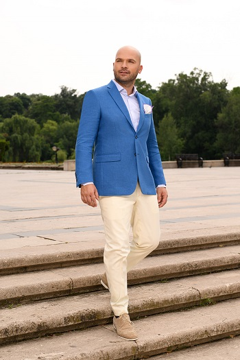 Gentlemen`s Corner Slim Fit Light Blue Cream Jacket