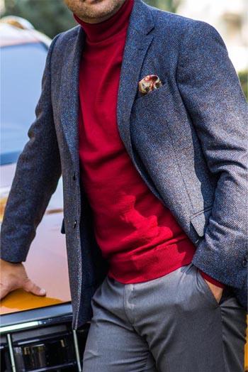 Gentlemen`s Corner Red Turtleneck Sweater