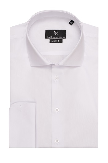 Gale Piquet White Shirt - Double Cuff