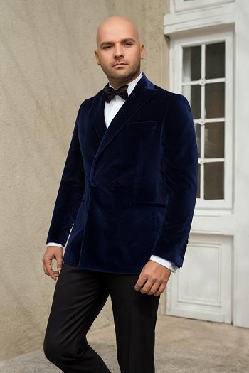 Gentlemen`s Corner Navy Velvet Dinner Jacket - Ramsay