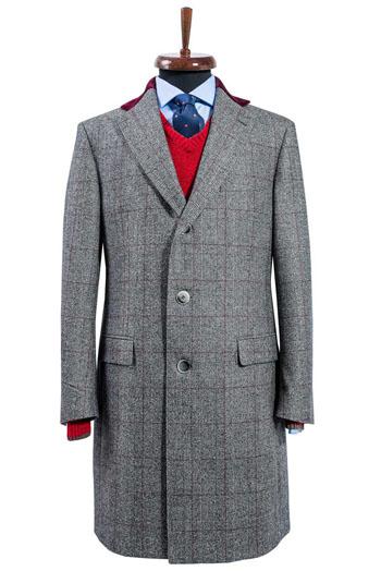 Gentlemen`s Corner Grey MTM Overcoat - Prince of Wales Check