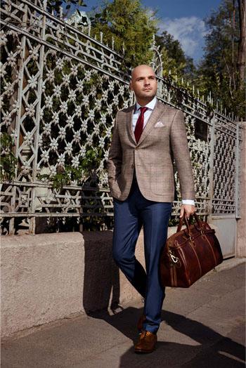 Gentlemen`s Corner Light Brown Check Slim Fit Jacket