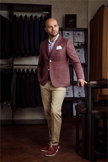 Gentlemen`s Corner Burgundy Slim Fit Jacket
