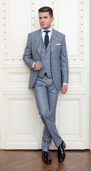 Gentlemen`s Corner Slim Fit Grey Checks Suit - Heritage