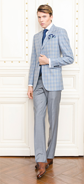 Gentlemen`s Corner Blue Check Slim Fit Jacket