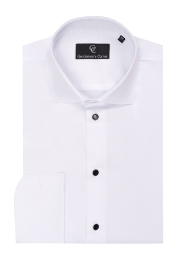 Diamon Pique White Dress Shirt - Black Buttons - Double Cuff
