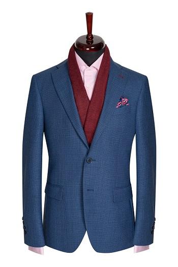 Gentlemen`s Corner Blue Casual Slim Fit Jacket - Charles