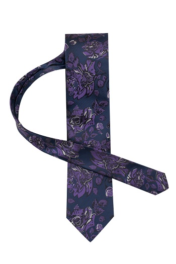 Gentlemen`s Corner Blue Silk Tie - Purple Floral