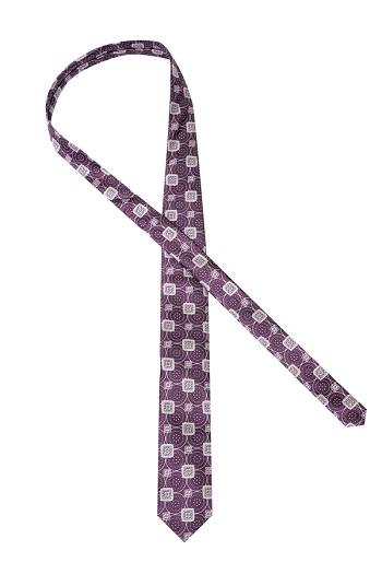 Gentlemen`s Corner Purple Silk Tie - Geometric Pattern