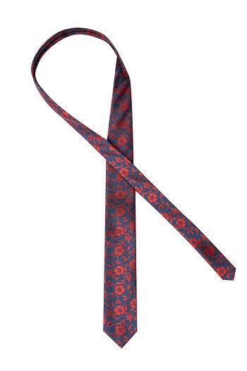 Gentlemen`s Corner Blue Silk Tie - Floral Red