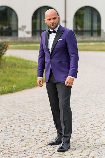 Gentlemen`s Corner Slim Fit Dinner Suit - Purple