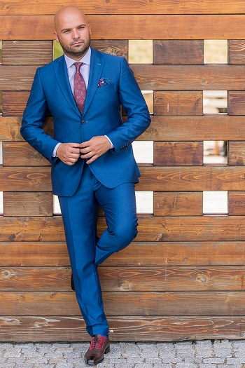Gentlemen`s Corner Slim Fit Business Light Blue Suit