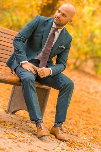 Gentlemen`s Corner Slim Fit Business Dark Green Suit