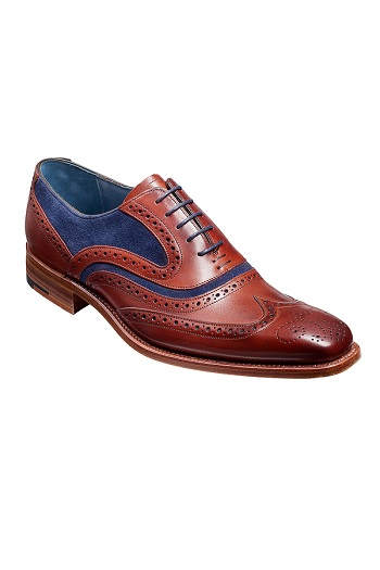 Barker McClean Shoes - Rosewood Calf / Navy Suede