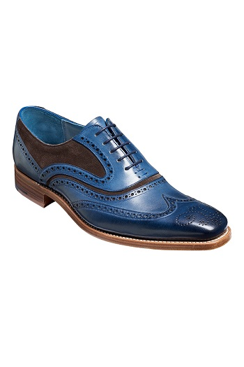 Barker McClean Shoes - Navy Hand Painted / Choc Suede