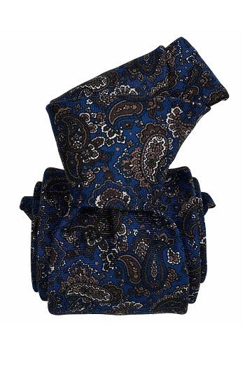 Gentlemen`s Corner Blue with Geometric Pattern Silk Tie