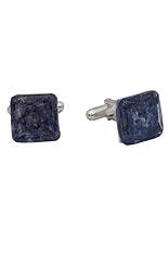 Square Silver Cufflinks - Murano Blue Montana