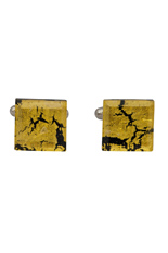 Square Silver Cufflinks - Murano gold Sommerso