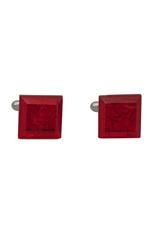 Square Silver Cufflinks - Murano Ruby Foglia Oro