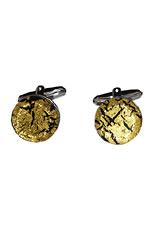 Round Silver Cufflinks - Murano gold Sommerso