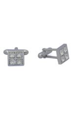Square silver cufflinks with white Swarovski crystals