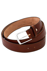 Gentlemen`s Corner Deluxe Leather Belt - Red Brown