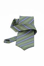 White & Blue Stripe Green Silk Tie