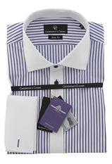 Portland Blue Stripe White Shirt - Double Cuff