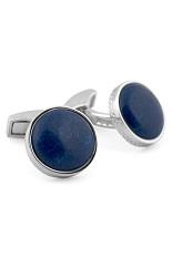 Tateossian Silver Cabochon Round Cufflinks - Blue Lapis