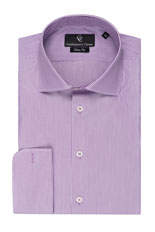 Purple Stripe White Shirt - Double Cuff