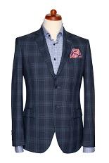 Gentlemen`s Corner Light Blue Check Blue Slim Fit Jacket