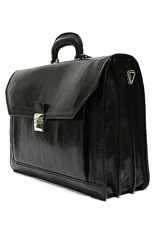 Bari Italian Black Leather Briefcase