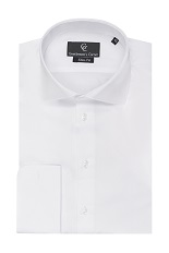 Piquet White Shirt - Double Cuff