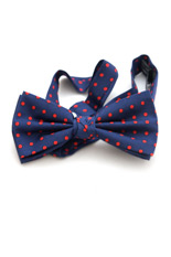 Lloyd Attree & Smith Silk Bow Tie - Blue with Red Dots
