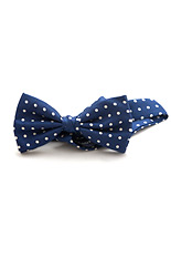 Lloyd Attree & Smith Silk Bow Tie - Blue with White Dots