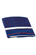 Red Dots Blue Silk Pocket Square