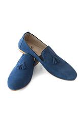 Gentlemen`s Corner Blue Suede Tassel Loafers