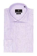 Gentlemen`s Corner Purple Stripe Linen Shirt - Button Cuff