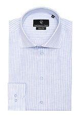 Brad Linen Shirt - Blue White Stripe