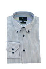 Gentlemen`s Corner Blue Stripe Oxford Lino - Button Cuff