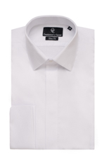 Diamond Pique White Dress Shirt - Double Cuff