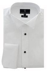 Sandringham White Dress Shirt - Black Buttons - Double Cuff