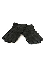 Fur Lined Suede Gloves - Black