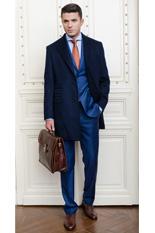 Gentlemen`s Corner Navy Slim Fit Overcoat